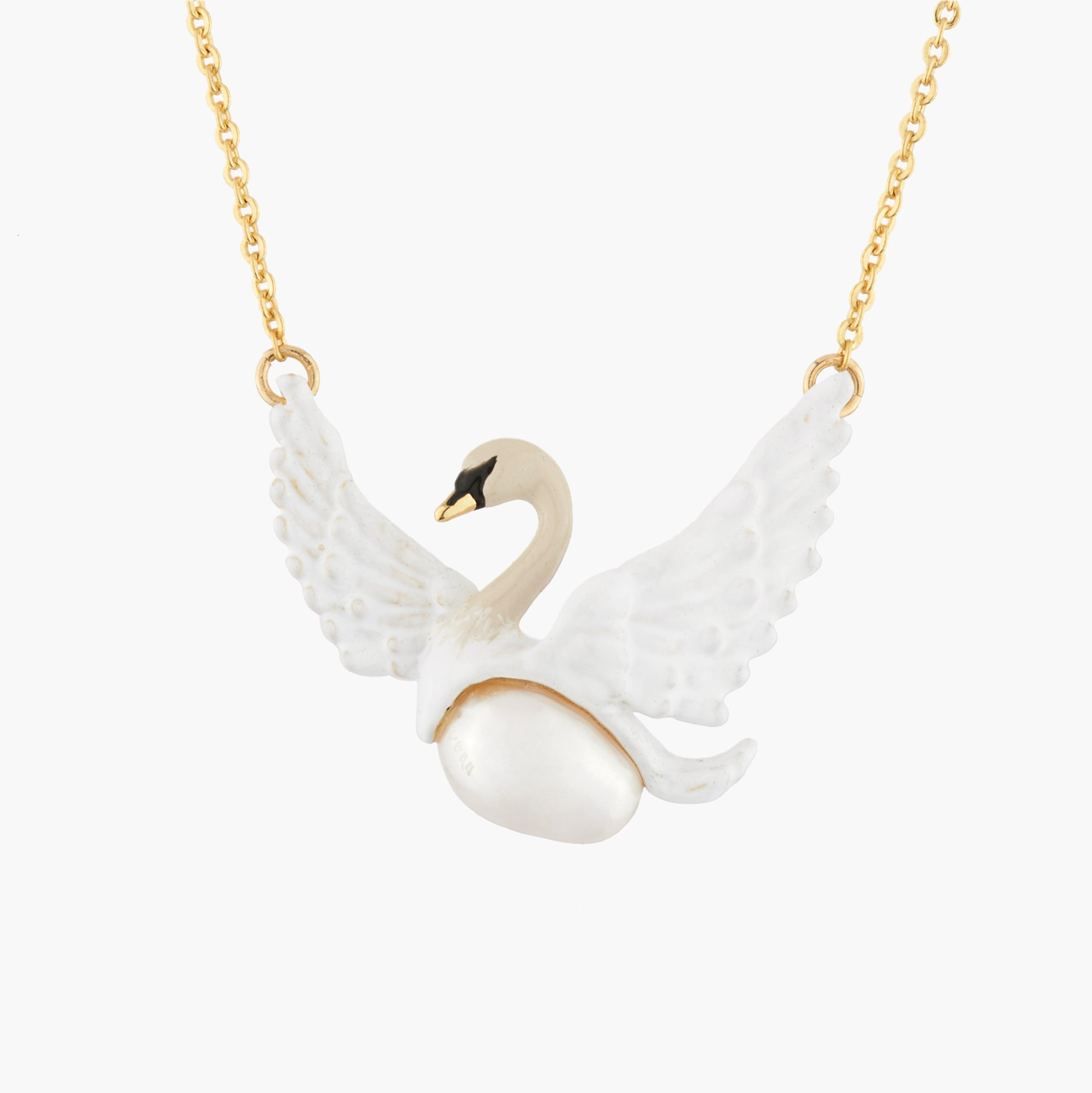 Flying White Swan and Baroque Pearl Necklace