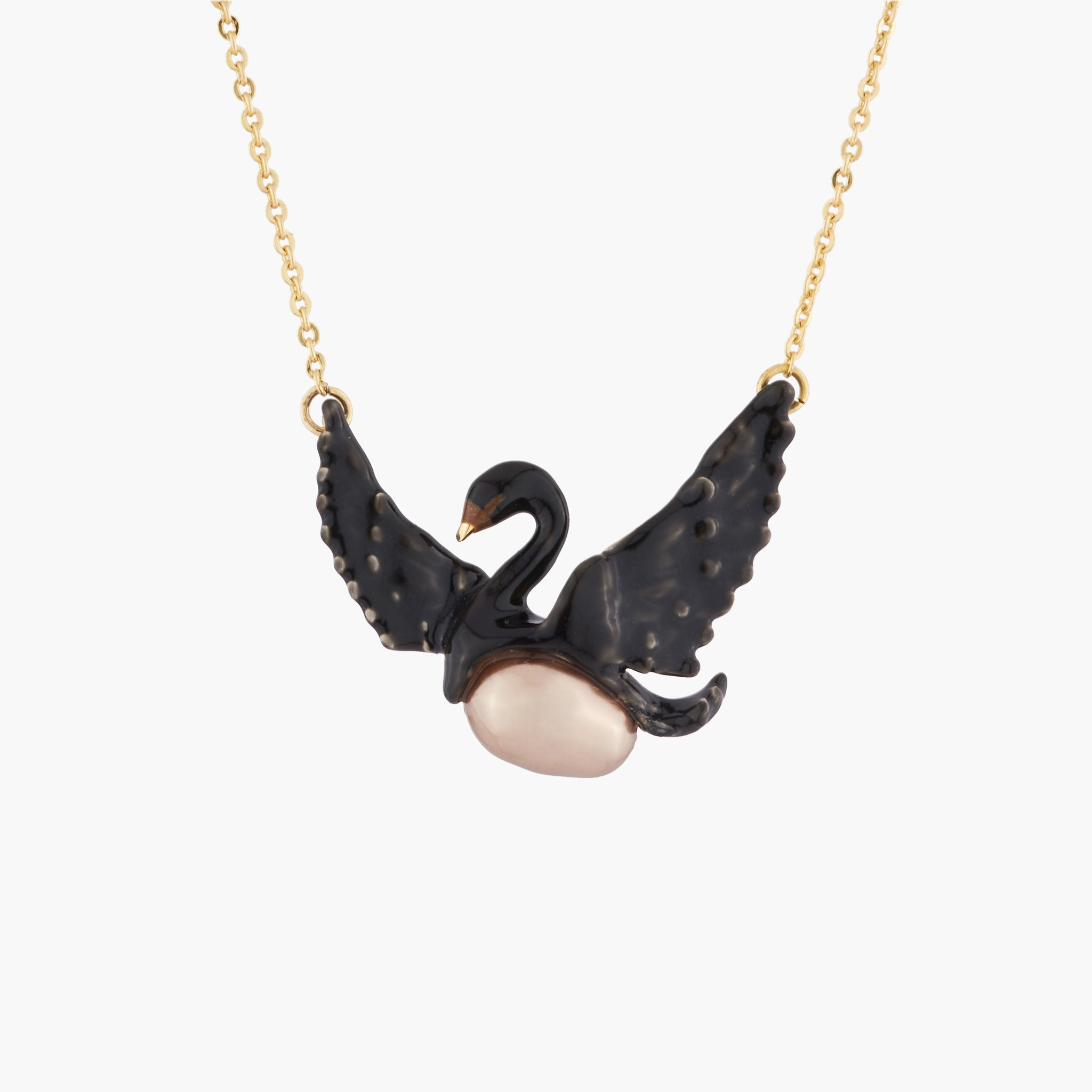 Flying Black Swan and Baroque Pearl Necklace