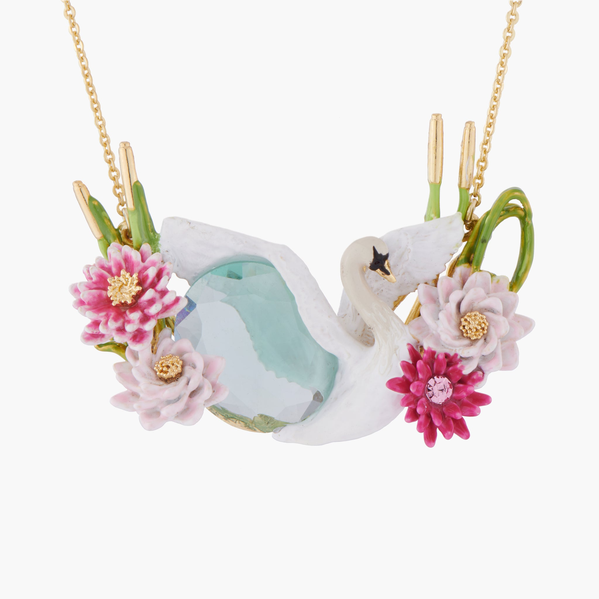 Flying Swan among Water Lilies on a Blue Stone Collar Necklace