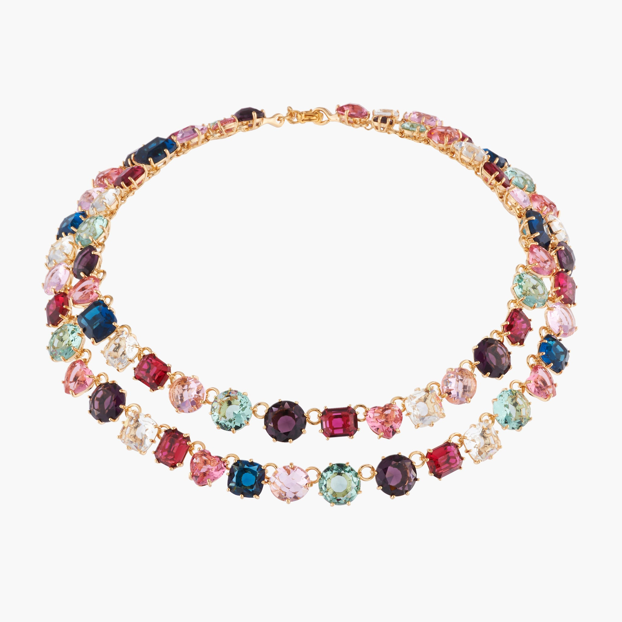 La Diamantine Two Rows Luxurious Multicoloured Necklace