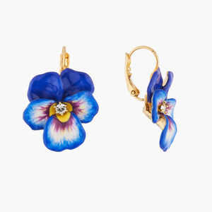 Blue Pansy and Faceted Crystal Dormeuses Earrings