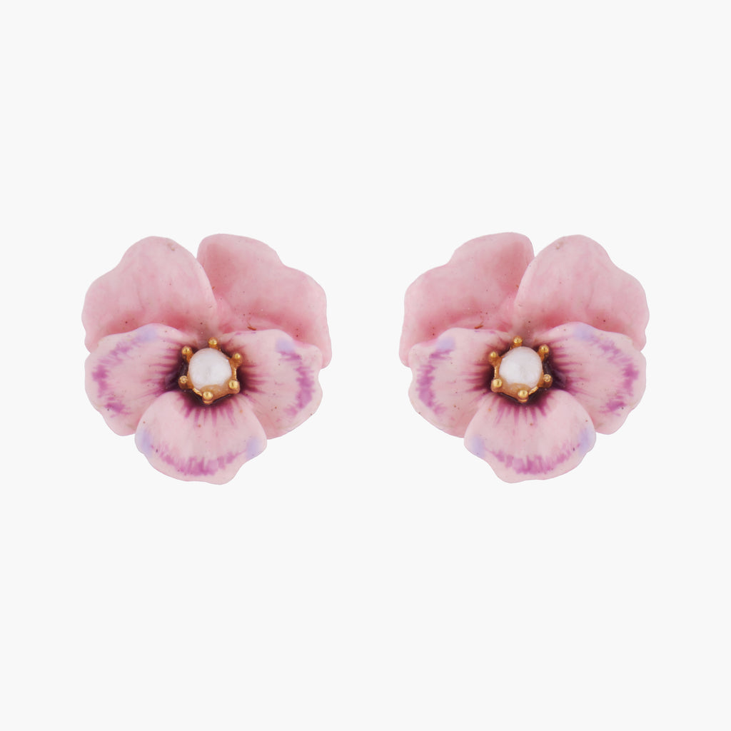Pink Pansy and Fresh Water Pearl Stud Earrings