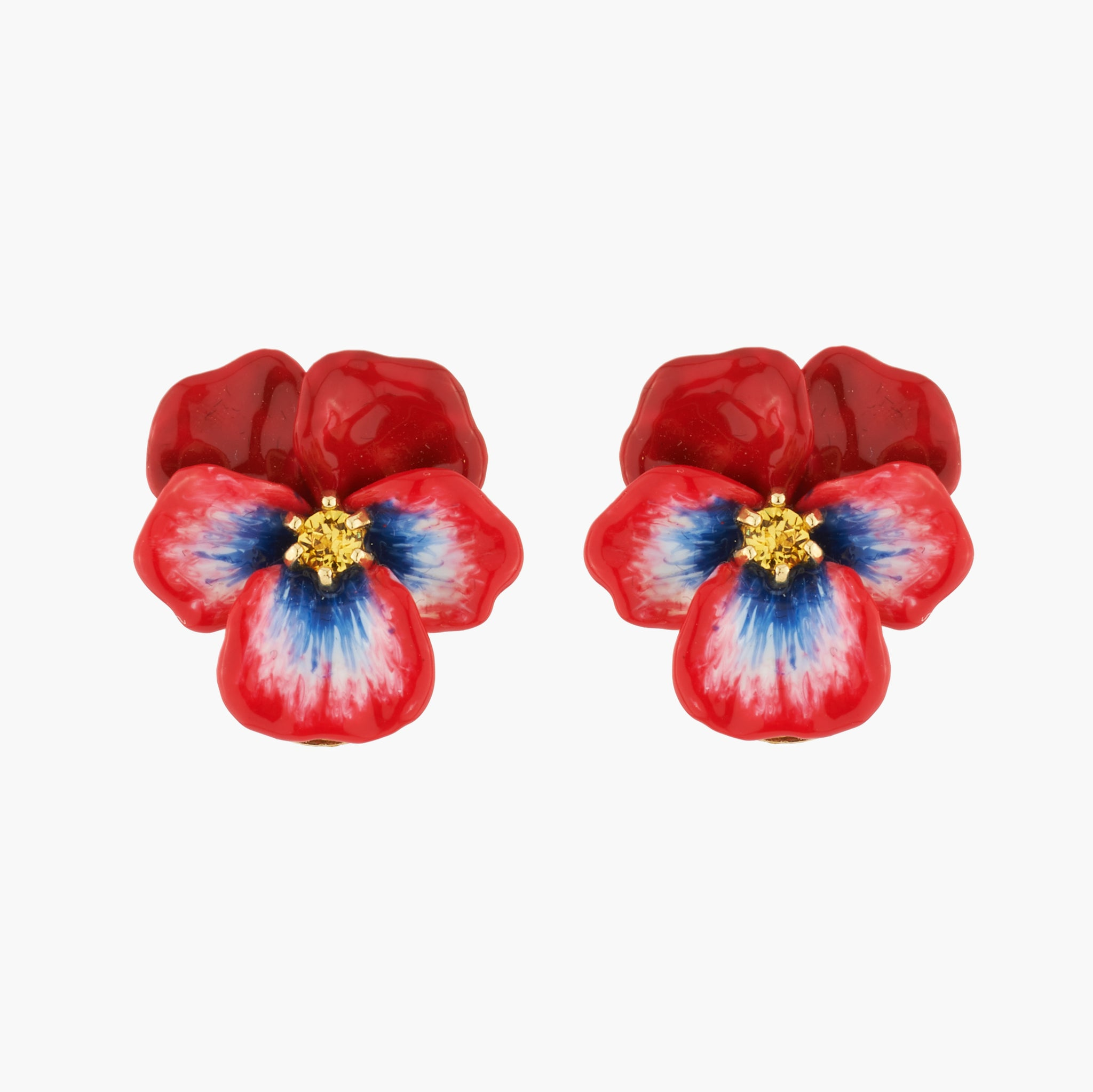 Red Pansy and Faceted Crystal Stud Earrings