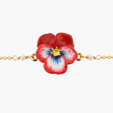 Red Pansy and Faceted Crystal Thin Link Chain Bracelet