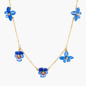 Violet, Pansy and Golden Beads Thin Necklace
