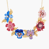 Winter´s Flower and Golden Leaves Collar Necklace