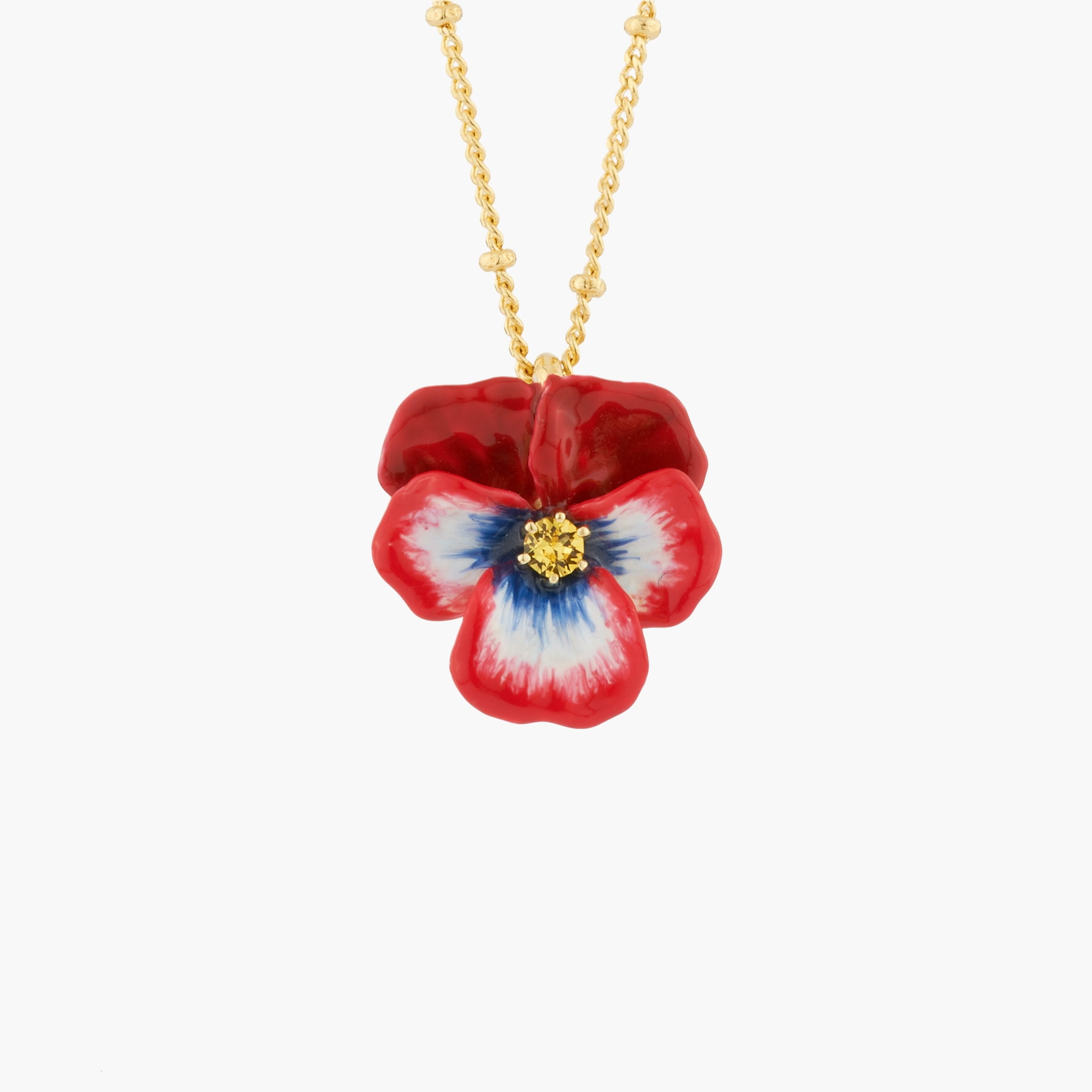 Red Pansy and Faceted Crystal Long Necklace
