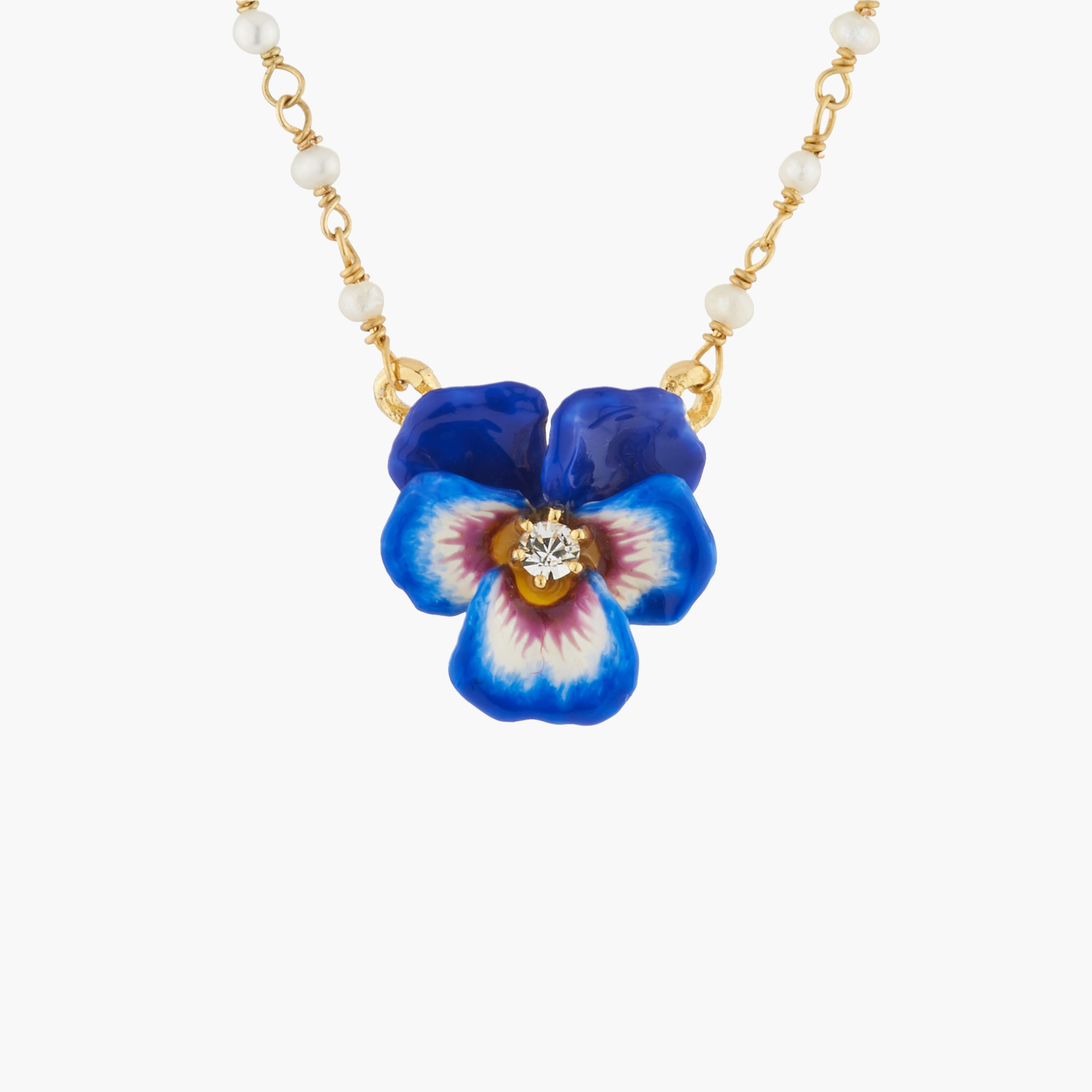 Blue Pansy with Faceted Crystal Pendant Necklace