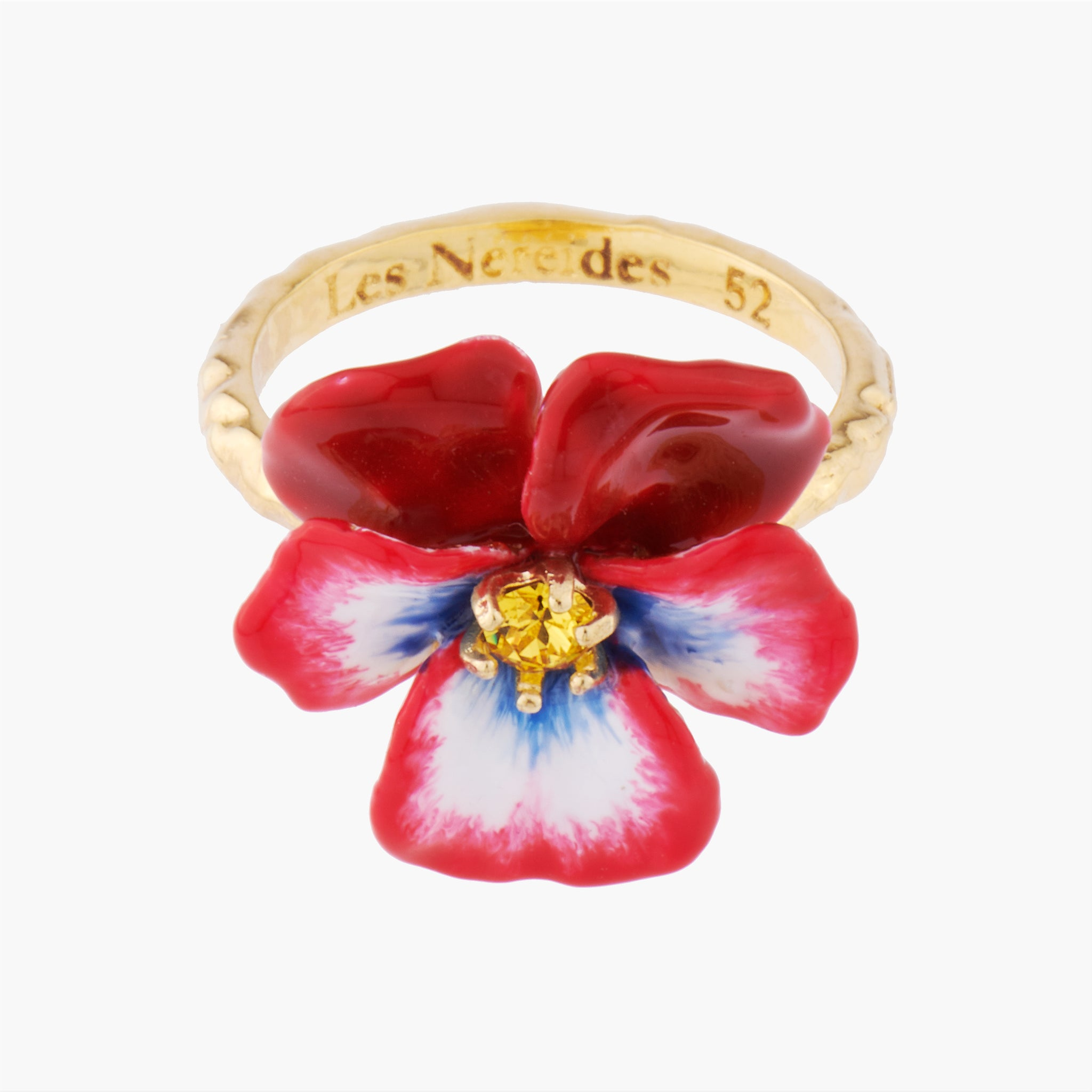 Red Pansy and Faceted Crystal Cocktail Ring