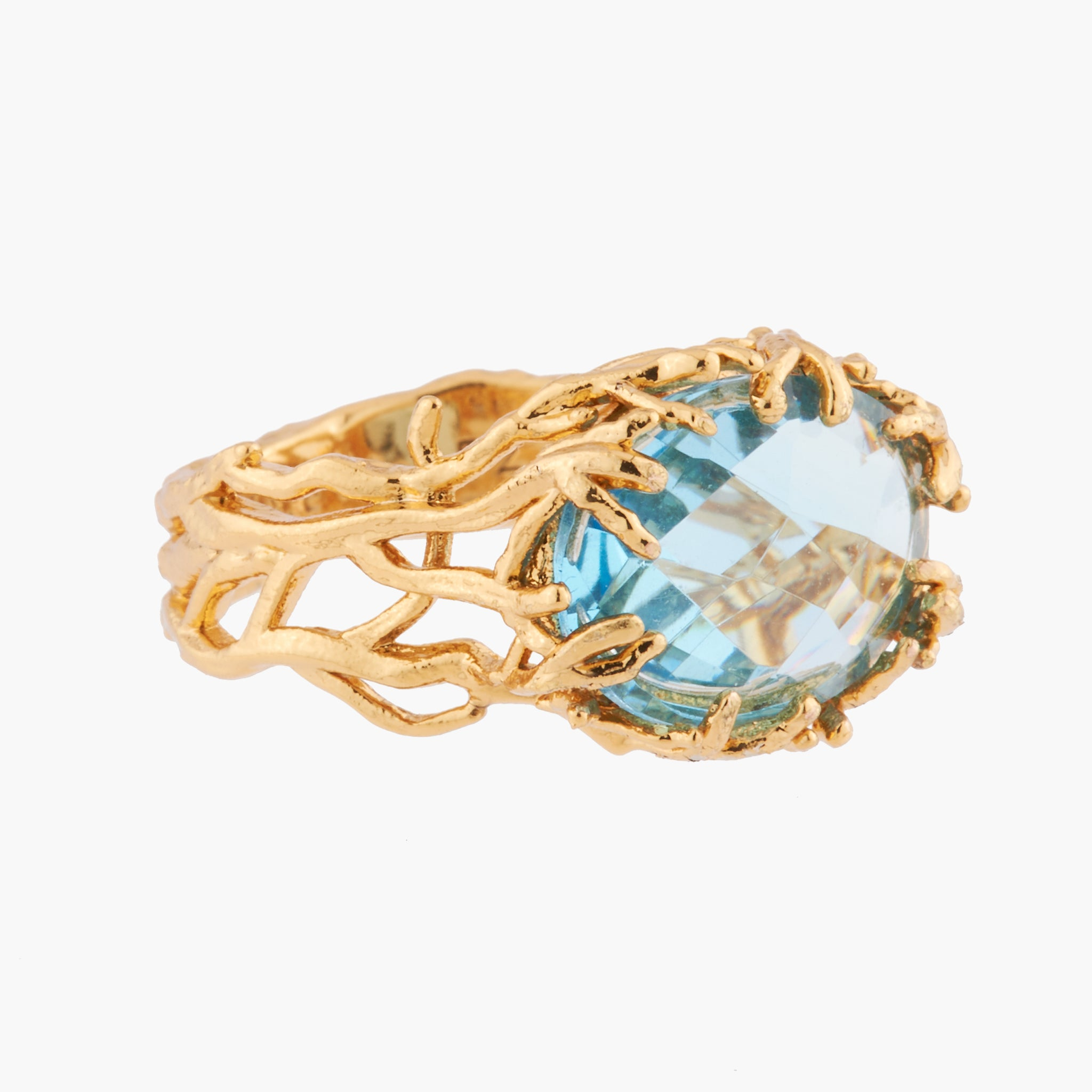 Celestial Blue Stone Coral Ring