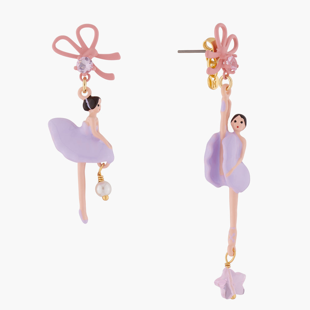 Lilac Ballerina with Ribbon asymmetrical Earrings