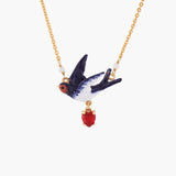 Swallow and Heart Pendant Necklace