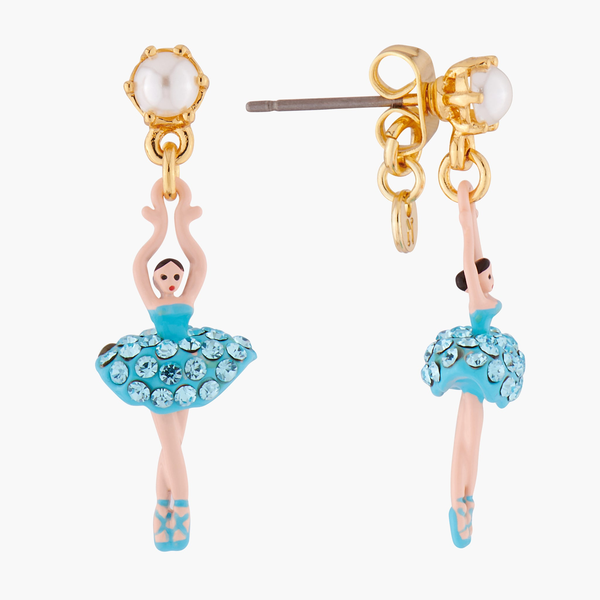 Aquamarine Crystals Stud Mini-Ballerina Earrings