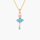Aquamarine Crystals Mini-Ballerina Pendant Necklace