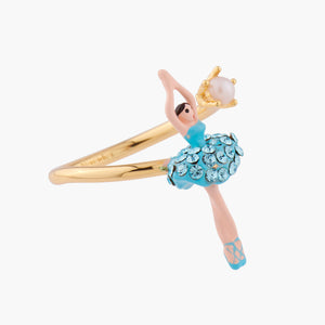 Adjustable Ring Aquamarine Crystals Mini Ballerina