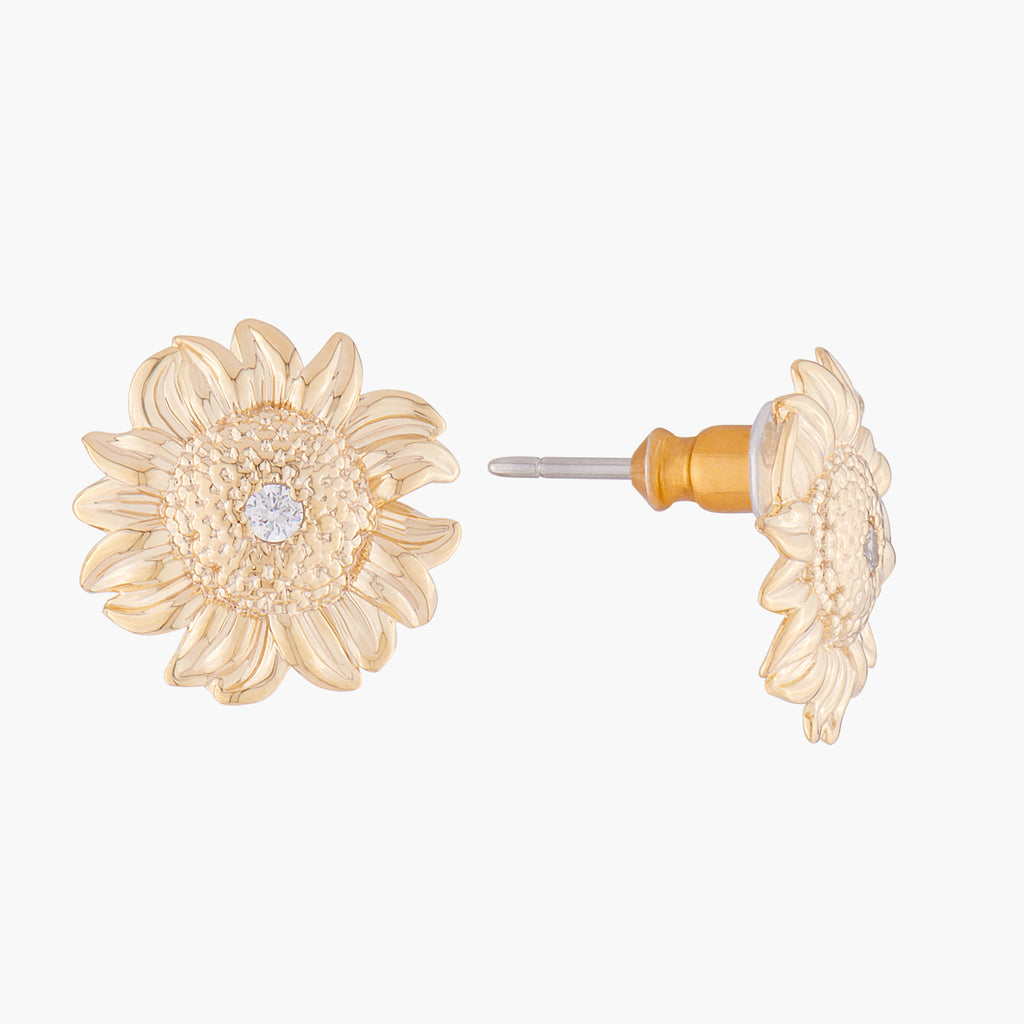 Sunflower and Crystal Stud Earrings