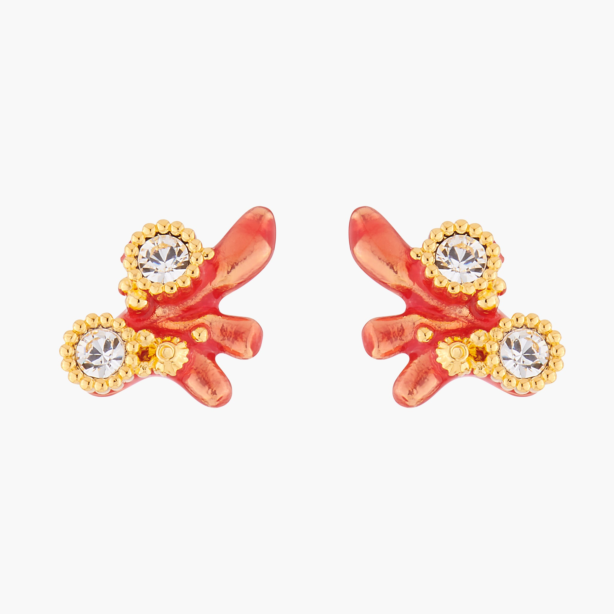 Red Corals and Crystals Stud Earrings