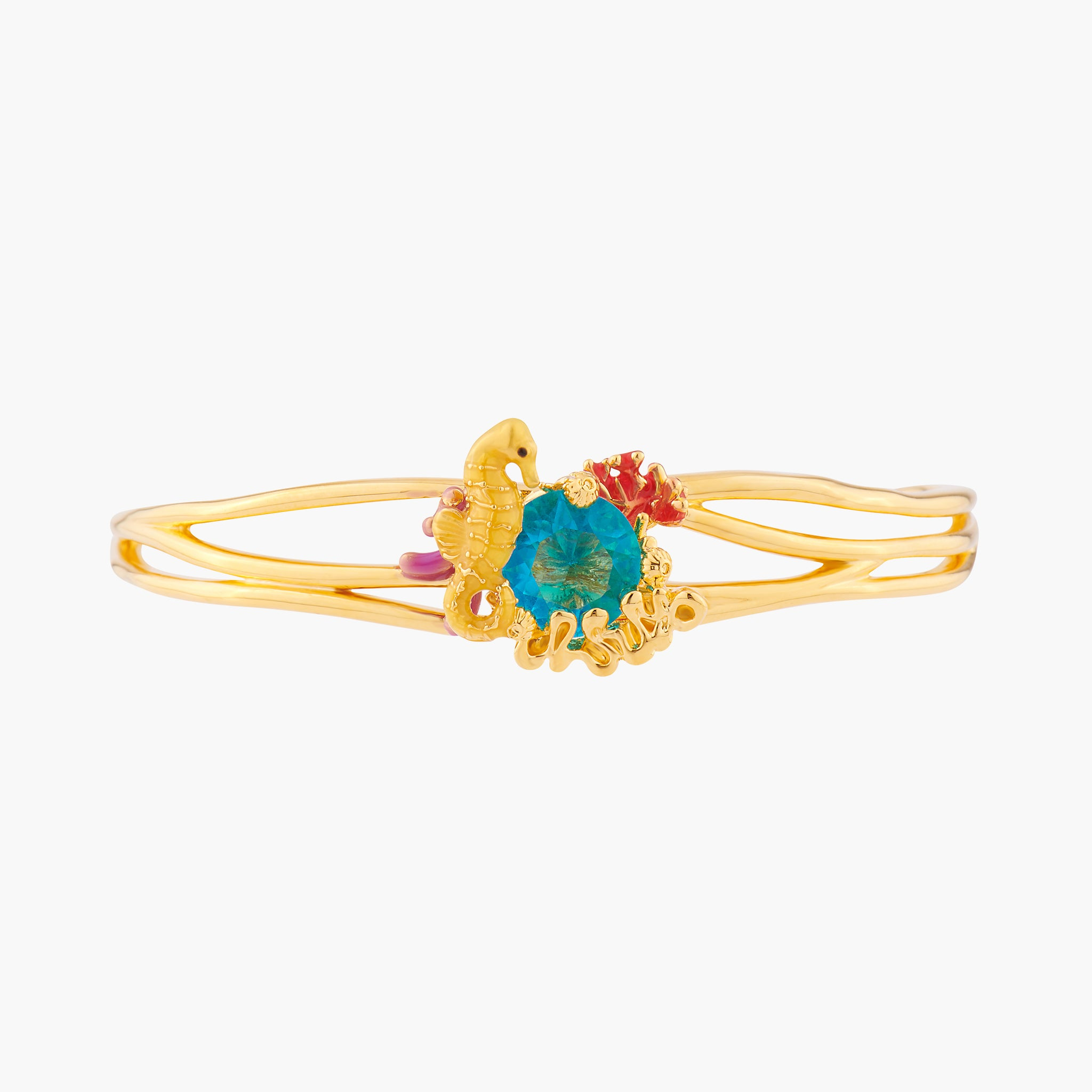 Seahorse and Blue Lagoon Crystal Bangle Bracelet