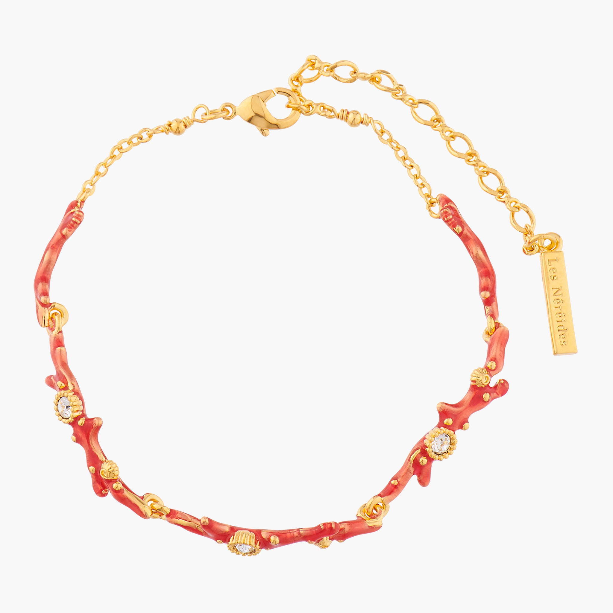 Red Corals and Crystals Thin Bracelet