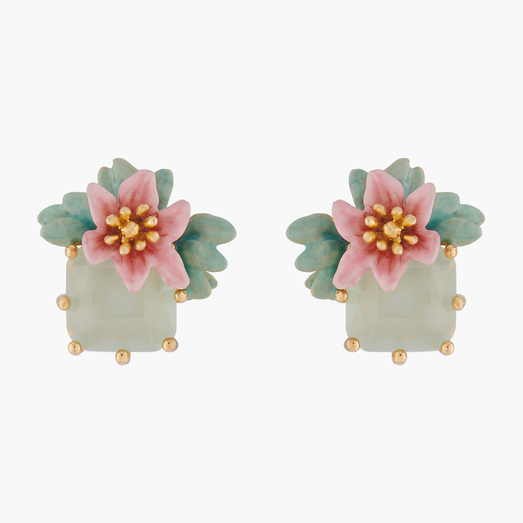 Pink Oleander Flower and Square Stone Stud Earrings