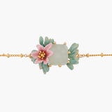 Pink Oleander Flower and Square Stone Chain Bracelet