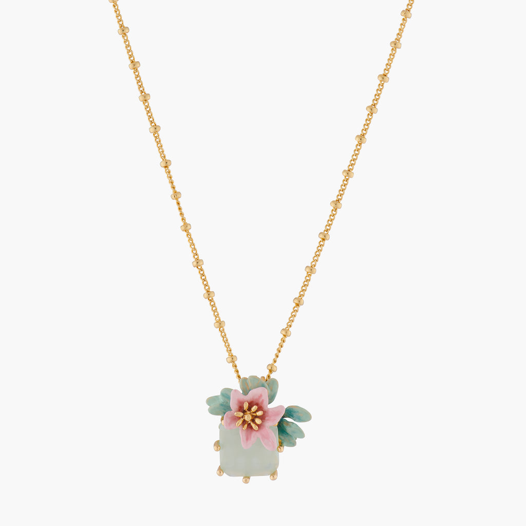 Citrus Flower and Square Stone Pendant Necklace