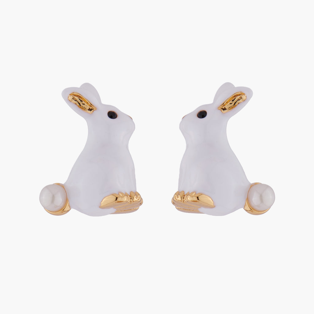 Rabbit and Pearl Stud Earrings