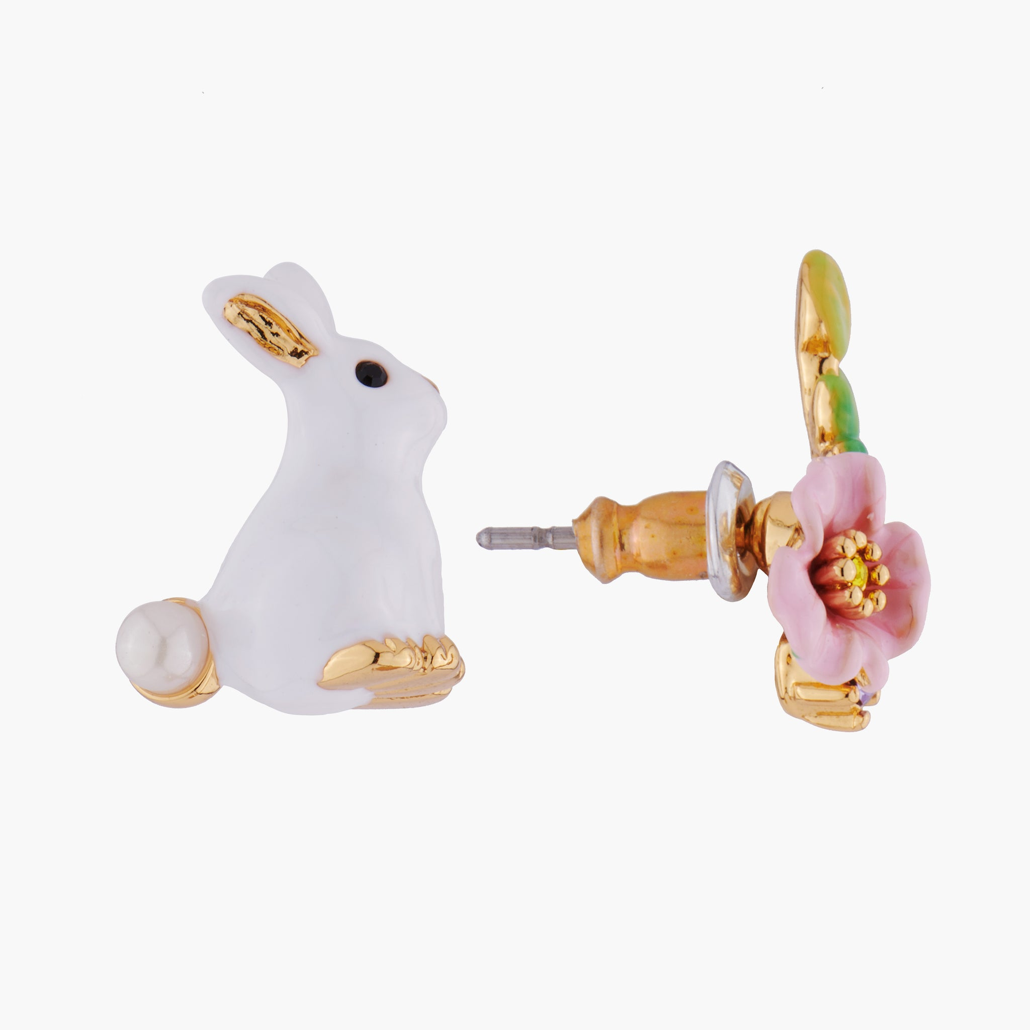 Rabbit and Pink Flower Asymmetrical Stud Earrings