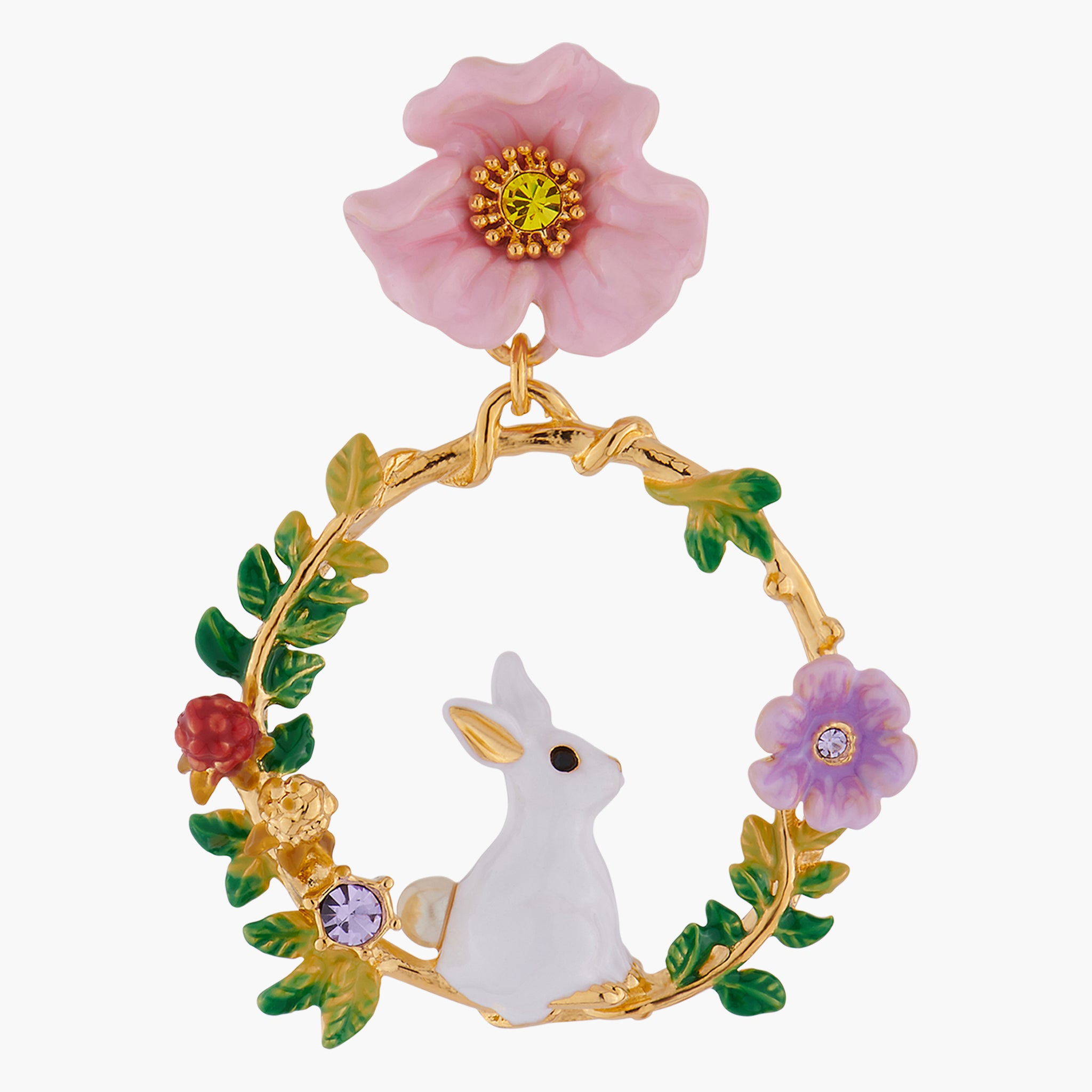 Rabbit on Flowered Branch Stud Creoles