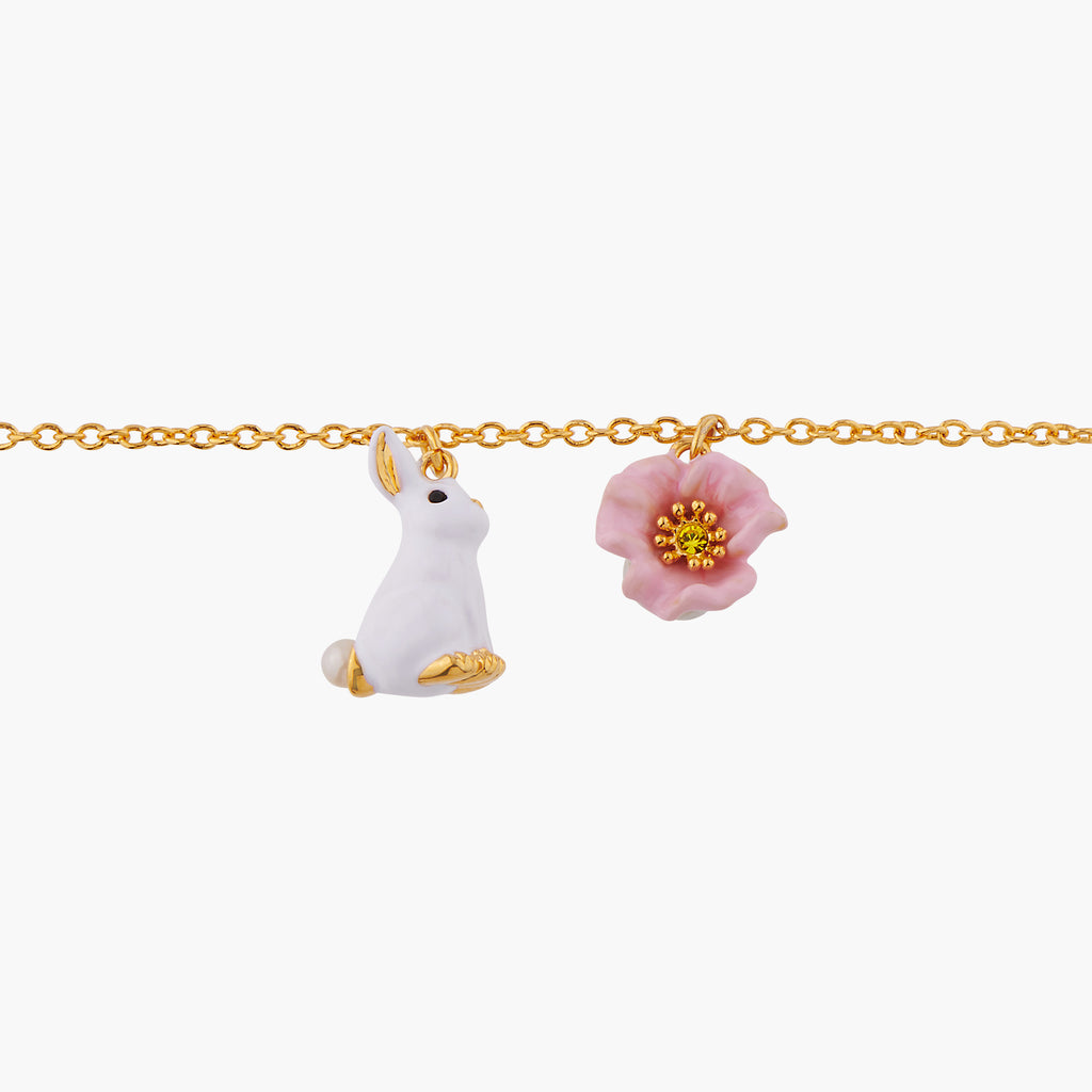 Rabbit and Pink Flower Thin Chain Bracelet