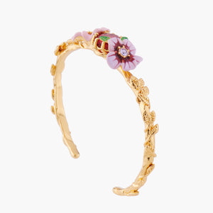 Pink and Violet Flowers Bangle Bracelet