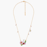 Rabbit on a Pink Flower Pendant Necklace