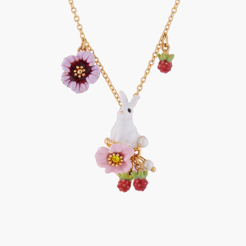 Rabbit on Flowers Pendant Necklace