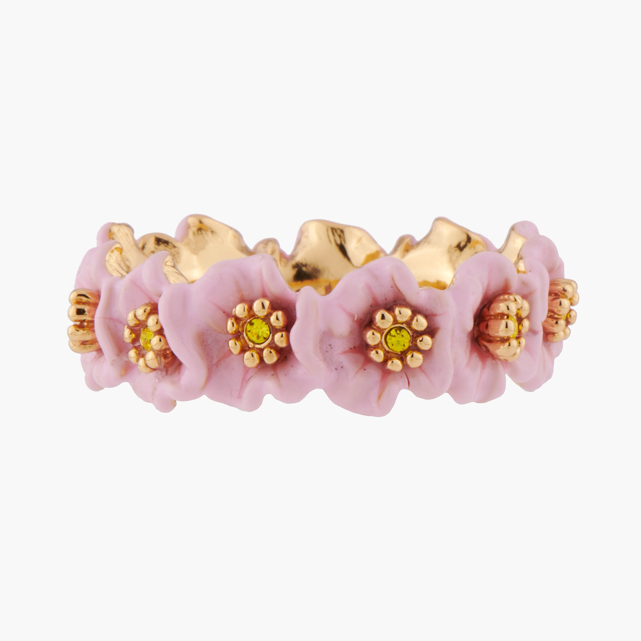 Pink Flowers and Golden Pistils Thin Ring