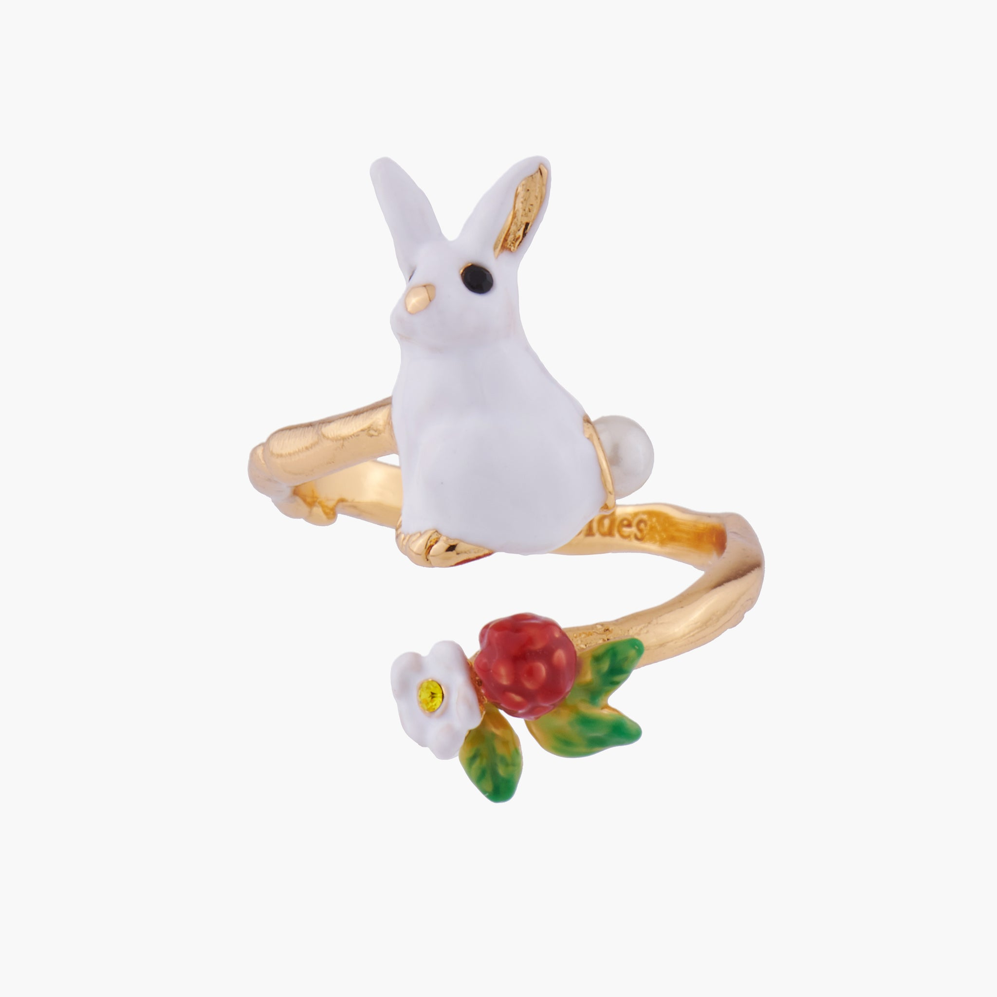Rabbit and White Flower Adjustable Ring