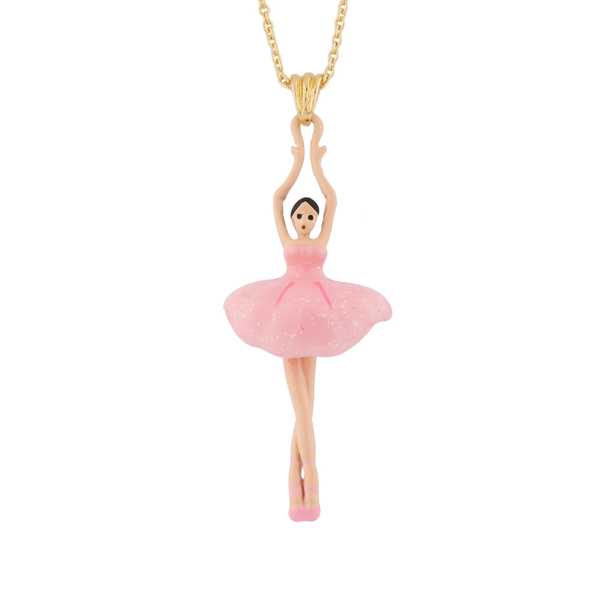 Pendant Necklace with Pink Toe-dancing Ballerina