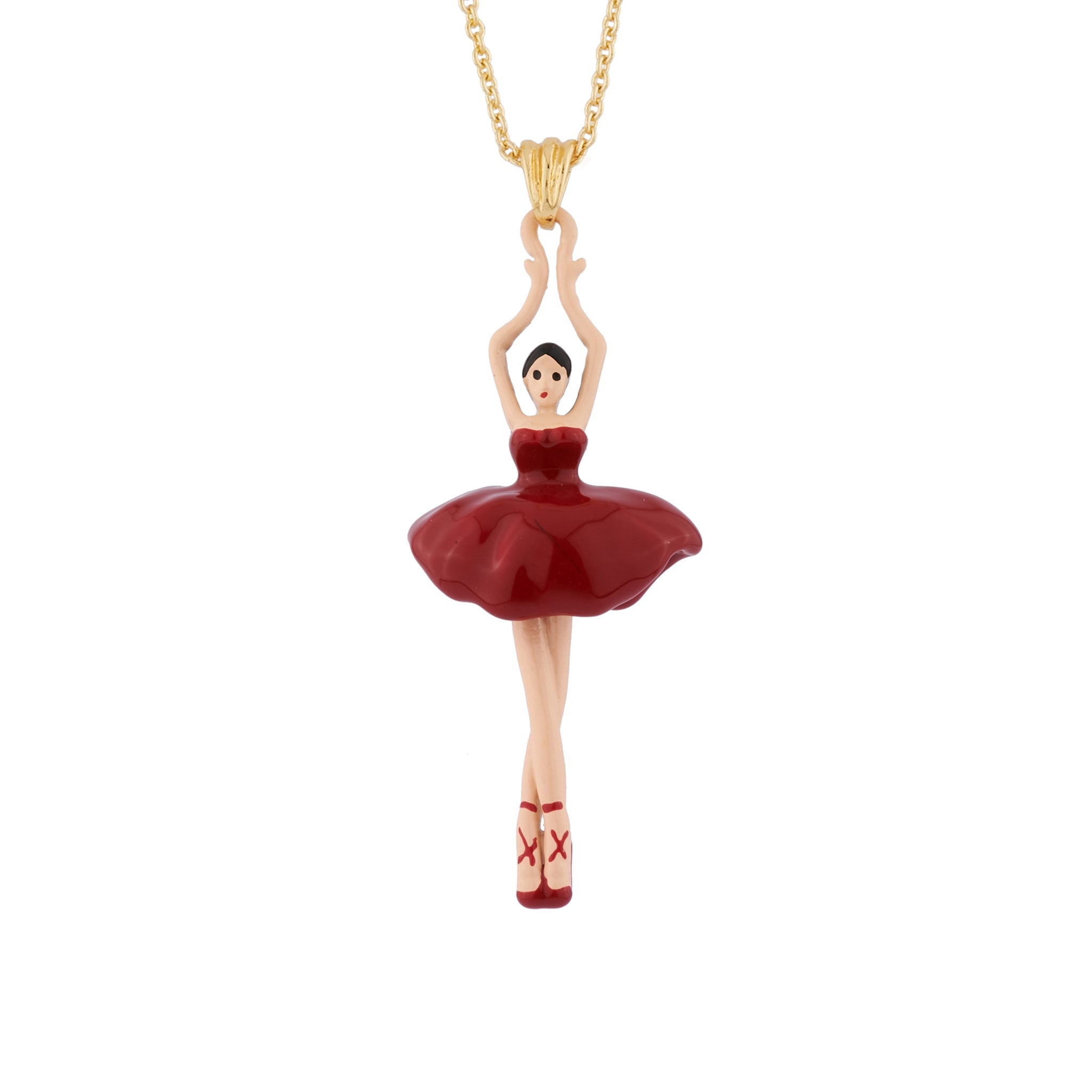 Pendant Necklace with Red Toe-dancing Ballerina
