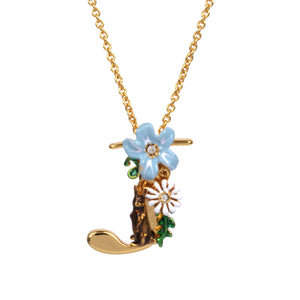 Blossoming Alphabet Necklace Letter J