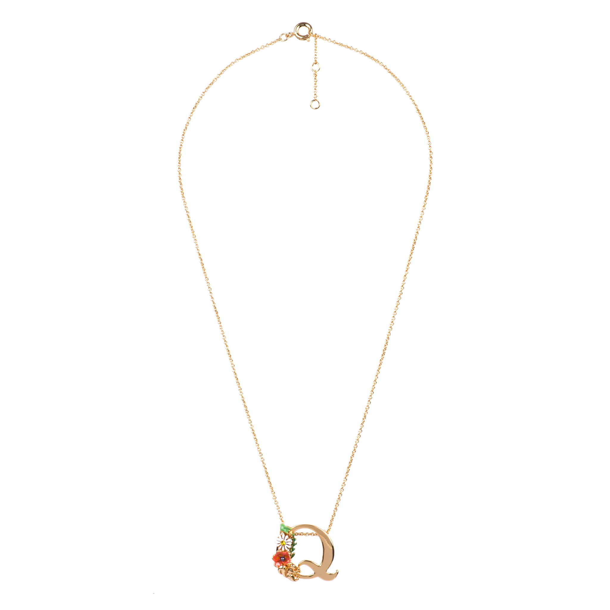 Blossoming Alphabet Necklace Letter Q