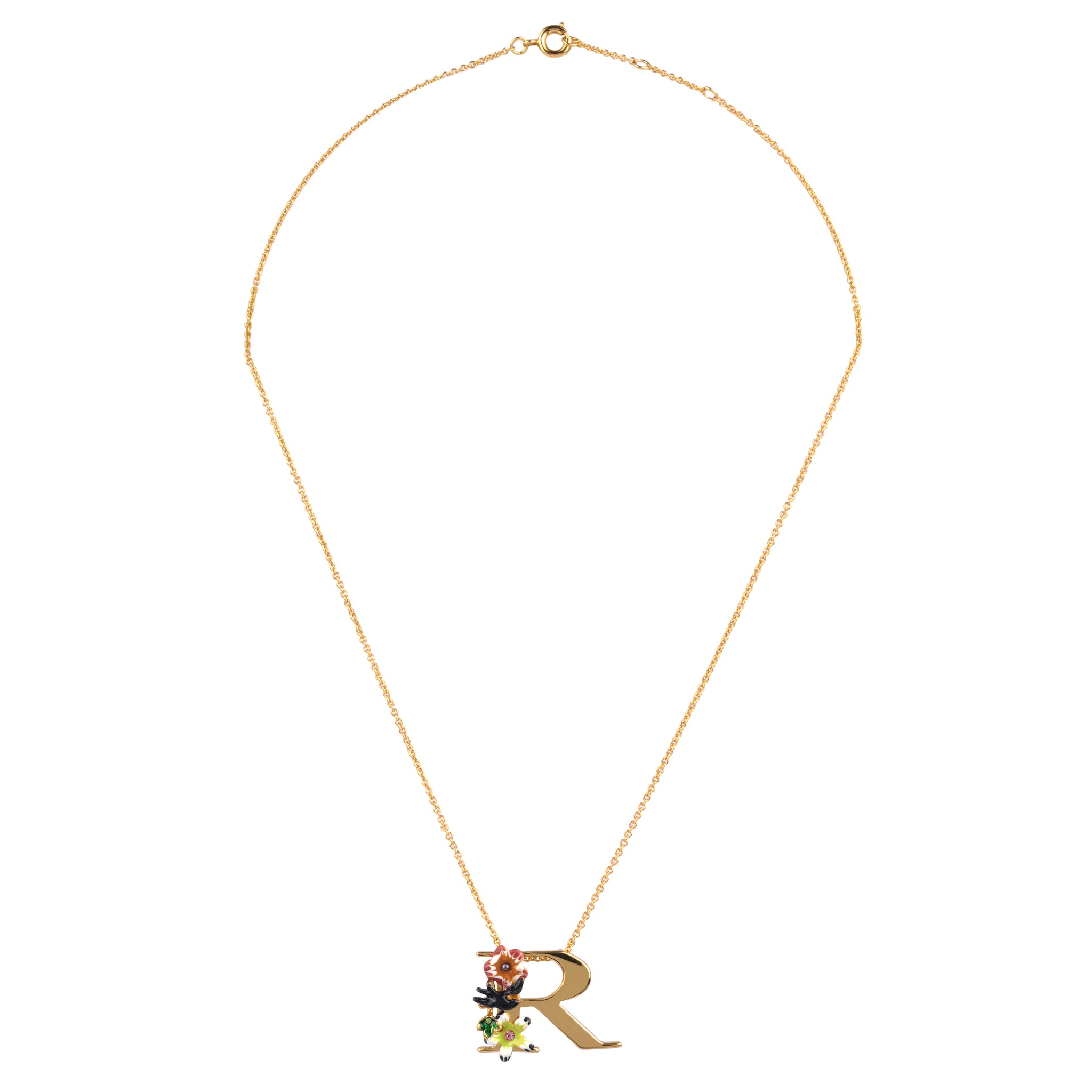 Blossoming Alphabet Necklace Letter R