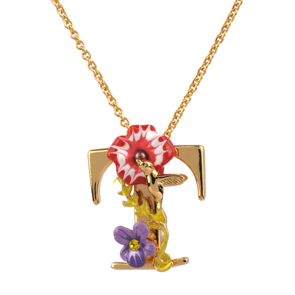Blossoming Alphabet Necklace Letter T