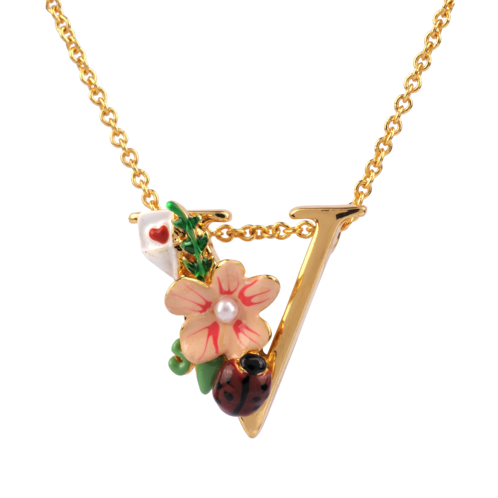 Blossoming Alphabet Necklace Letter V