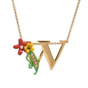 Blossoming Alphabet Necklace Letter W