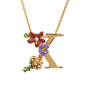 Blossoming Alphabet Necklace Letter X