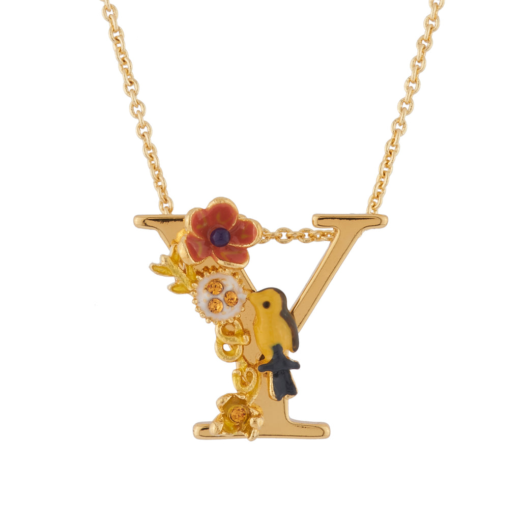 Blossoming Alphabet Necklace Letter Y