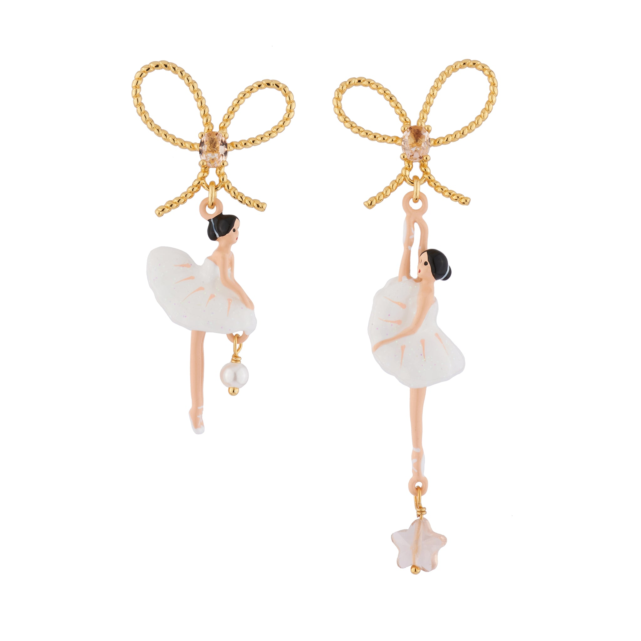 White Asymmetrical Earrings with Star Ballerina