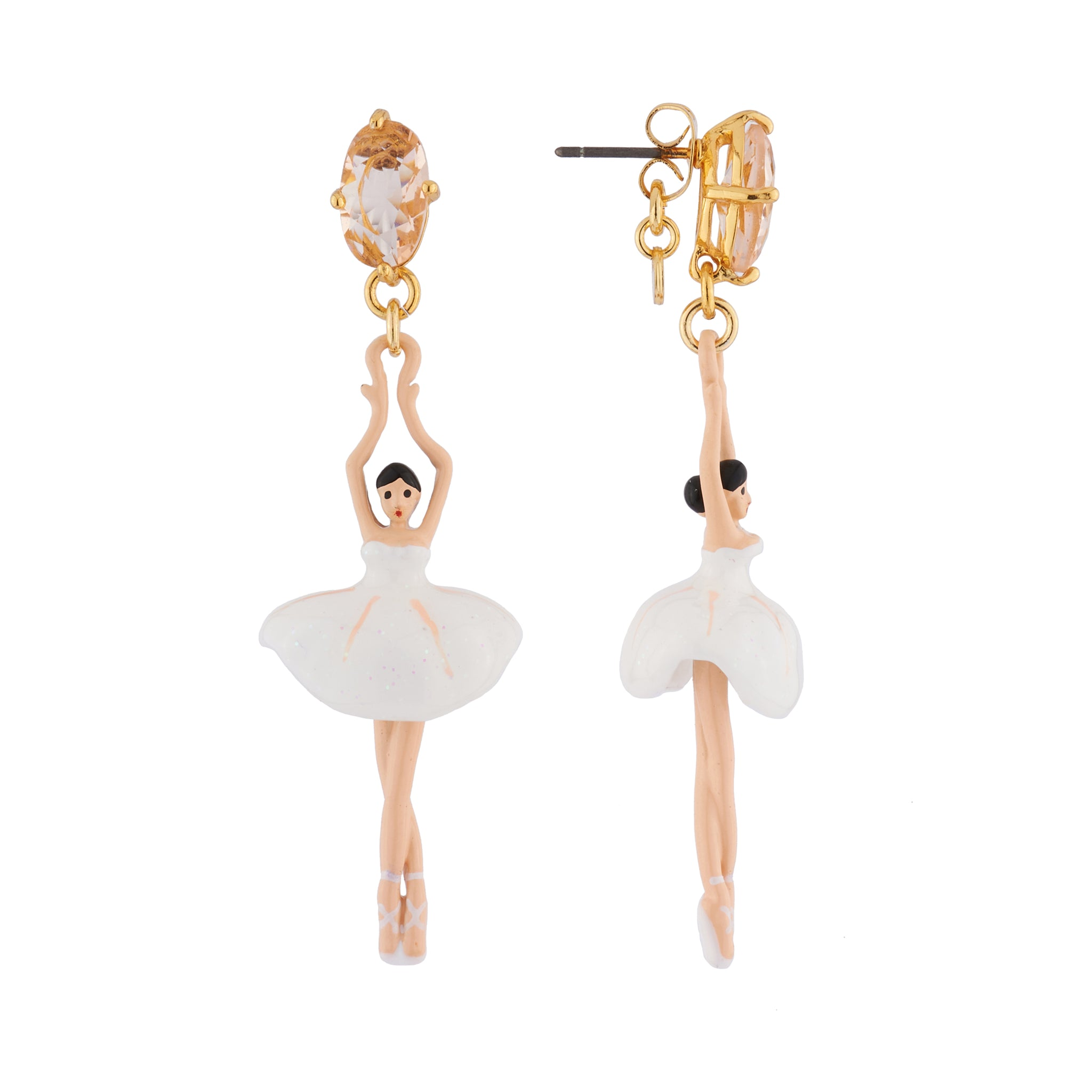 White Earrings with Toe-dancing Ballerinas