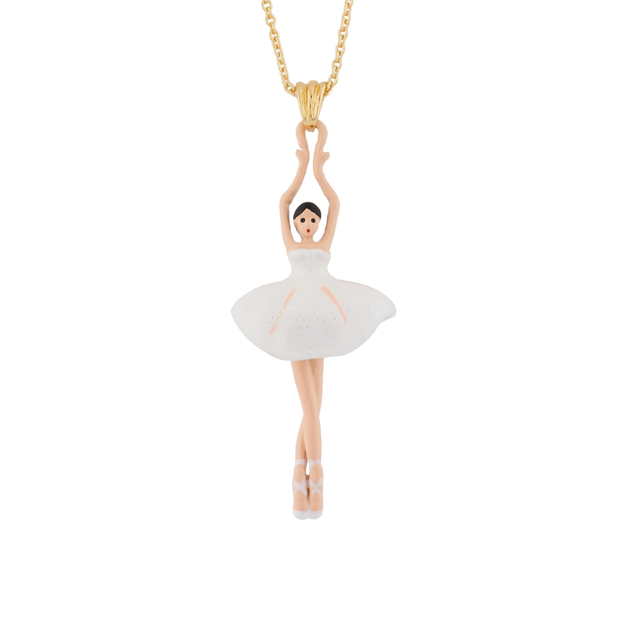 White Pendant Necklace with Toe-dancing Ballerina