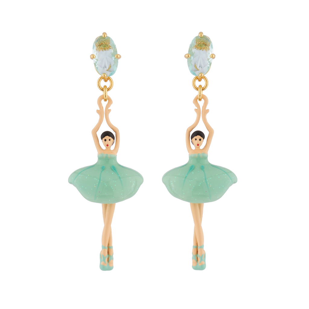 Blue Pas de Deux Earrings with Ballerinas and Blue Stone