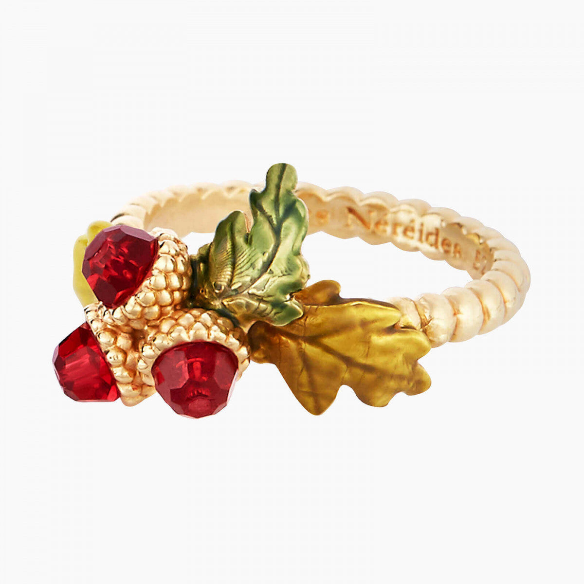 Acorn and Oak Tree Leaves Thin Ring